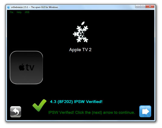 sn0wbreeze03 How to Jailbreak Apple TV 2 on iOS 4.3 with sn0wbreeze (untethered)